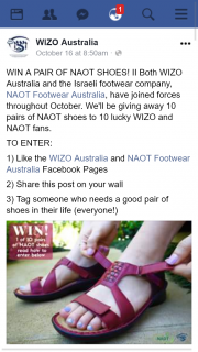 WIZO Australia FB – Win a Pair of Naot Shoes