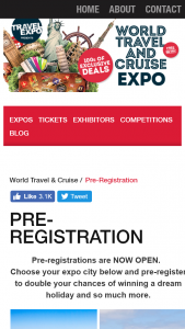 World Travel & Cruise Expo – Win Your Choice of Two Dream Holidays (prize valued at $10,000)