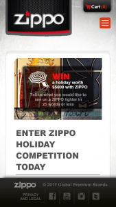 Zippo Lighters – Win a Holiday Competition (prize valued at $5,000)