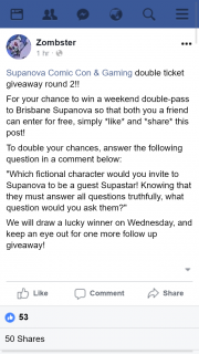 Zombster – Win a Weekend Double-Pass to Brisbane Supanova So That Both You a Friend Can Enter for Free