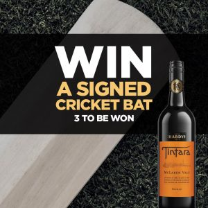 Cellarbrations – Win 1 of 3 cricket bats valued at $350 each signed by the Australian Team thanks to Hardys Wines