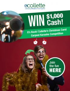 Collette – Carpool Karaoke 2017 – Win 1 of 2 cash prizes valued at $1,000 each