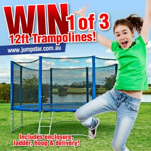 JumpStar Trampolines – Win 1 of 3 Trampolines 12ft with enclosure, ladder and basketball hoop kit plus delivery valued at $660 each