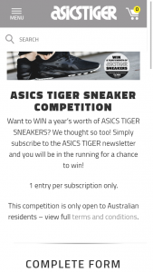 ASICS – Win a Year's Worth of Asics Tiger Sneakers (prize valued at $2,760)