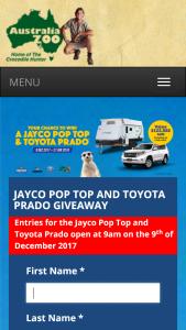 Australia Zoo – Win a Jayco Pop Top and Toyota Prado (prize valued at $53,755)
