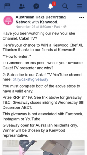 Australian Cake Decorating Network Facebook – Win a Kenwood Chef Xl Titanium Thanks to Our Friends at Kenwood (prize valued at $1,199)