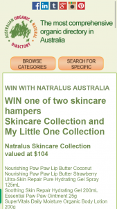 Australian Natural Organic Directory – Win One of Two Skincare Hampers Skincare Collection and My Little One Collection (prize valued at $104)