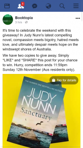 Booktopia – Win 1/2 Copies of Judy Nunn's Latest Novel Santuary