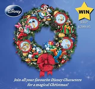 Bradford Exchange Australia – Win a Disney Christmas Wreath (prize valued at $299)