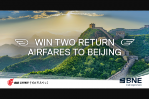 Brisbane Airport – Win Two Return Economy Flights to Beijing (prize valued at $4,010)