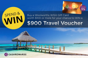 CashRewards – Win a $900 Travel Voucher (prize valued at $2,700)
