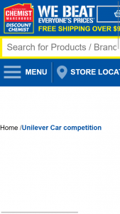 Chemist Warehouse Purchase Selected Unilever Products to – Win a Car Promotion (prize valued at $45,000)