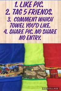 Country Sew N Sew FB – Win 1 Bath Towel With a Name of Your Choice Embroidered Simply Follow The Rules In The Picture (prize valued at $55)