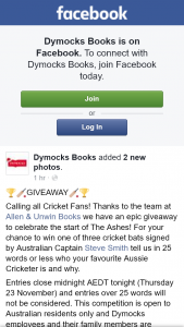 Dymocks – Win One of Three Cricket Bats Signed By Australian Captain Steve Smith Tell Us In 25 Words Or Less Who Your Favourite Aussie Cricketer Is and Why