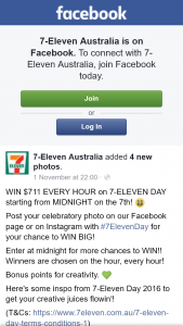 7-Eleven Australia – Win $711 Every Hour on 7-eleven Day Starting From Midnight on The 7th