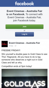 Event Cinemas Australia Fair – Win Yourself a Double Pass to Gold Class to See Thor