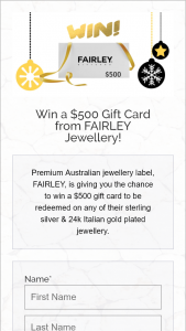 Fairley jewellery – Win a $500 Gift Card From Fairley Jewellery