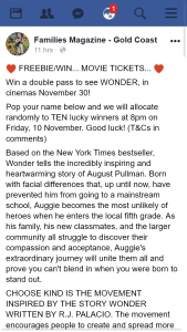 Families Magazine Gold Coast – Win a Double Pass to See Wonder