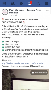 First Moments – Win a Personalised Merry Christmas Print