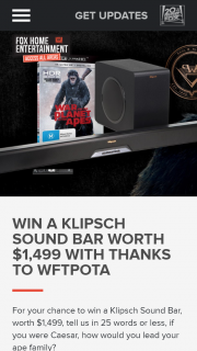 Fox Home Entertainment Access All Areas – Win a Klipsch Sound Bar