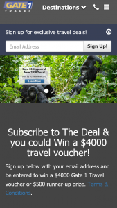 Gate 1 Travel Australia -Subscribe to The Deal & – Win a $4000 Travel Voucher (prize valued at $5,000)