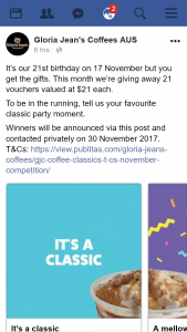 Gloria Jean's coffees – Win One of Twenty One $21 Vouchers (prize valued at $21)