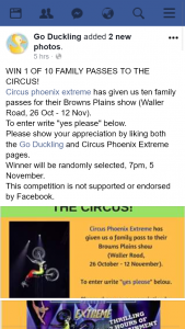 Go Duckling – Win 1 of 10 Family Passes to The Circus