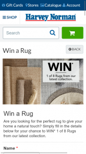 """Harvey Norman – Win Natural Jh Rug Promotion (""""promotion"""") Terms and Conditions of Entry (""""terms"""") (prize valued at $1)"""