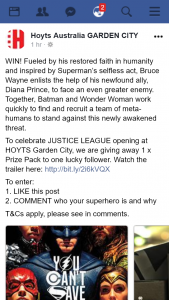 Hoyts Garden City – Win a Justice League Prize Pack