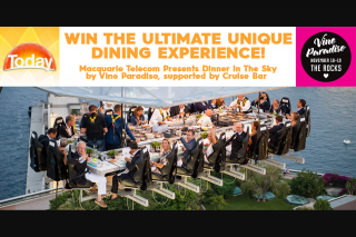 HURRY Channel 9 – Today Show – Win a Lunch Flight on Dinner In The Sky Sydney 17-19 Nov 17 By Vino Paradiso Incl (prize valued at $75)