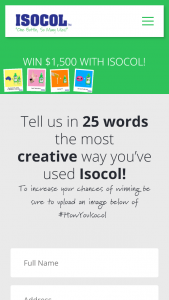 ISOCOL -Tell us your most creative way of using Isocol to – Competition (prize valued at $6,000)