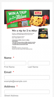 ITAL Panettone – Win a Trip for Two (2) Adults to Milan Italy Valued at Up to Au$8000 Depending on Date and Point of Departure (prize valued at $8,000)