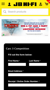 JB HiFi – Win a Cars 3 Party With a Visit From Lightning Mcqueen