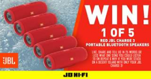 JB HiFi – Win 1 of 5 Amazing Jbl Charge 3 Portable Bluetooth Speakers
