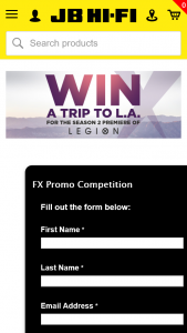 JBHIFI – Participating stores buy an eligble FX Branded Title – Win a Trip to La Sticker on Pack In-Store Or Starburst on Pack Shot Online (prize valued at $1)