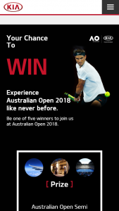 Kia – Win Category 1 Tickets to The Australian Open for You and Your Companion for an Unforgettable Day In Melbourne to Watch The Australian Open (prize valued at $24,500)
