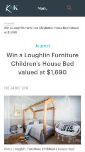 Kyal & Kara – Vote & – Win a 'handcrafted Tasmanian Oak Children's House Bed' By Loughlin Furniture Valued at $1690. (prize valued at $1,690)