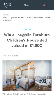 Kyal & Kara – Vote & – Win a 'handcrafted Tasmanian Oak Children's House Bed' By Loughlin Furniture Valued at $1690. (prize valued at $1,690)