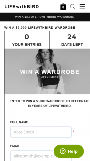 LIFEwithBIRD – Win a $3000 Lifewithbird Wardrobe (prize valued at $3,000)