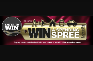 LOVATTS – Win an Indulgent Spending Spree (prize valued at $12,000)