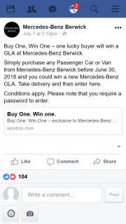 Mercedes-Benz Berwick – Win One' Draw (prize valued at $54,000)