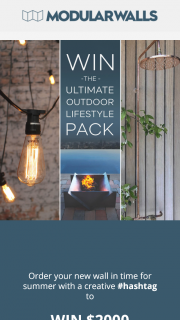 Modular Walls – Win $2000 Worth of Prizes and Enhance Your Outdoor Lifestyle (prize valued at $2,000)