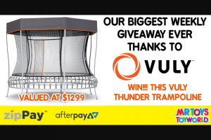 Mr Toys Toyworld – Win a Thunder Trampoline Thanks to Our Friends at Vuly (prize valued at $1,299)