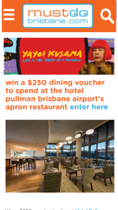 Must do Brisbane – Win a $250 Dining Voucher to Spend at The Hotel Pullman Brisbane Airport's Apron Restaurant