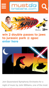 Must do Brisbane – Win 2 Double Passes to Jaws to Jurassic Park @ Qpac