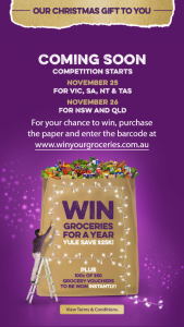 News Corp – Win $25000 Worth of Groceries (prize valued at $25,000)