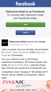 Osbourne Hotel Brisbane – Win a VIP Pinknic Experience Including a VIP Picnic Hamper and Bottle of Howard Park Wines Jete Brut Rose (prize valued at $1)
