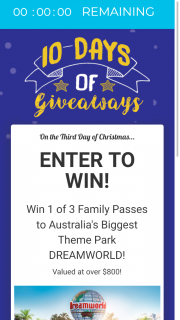 Paradise Resort 10 days of Christmas giveaways – Win a Family Pass to Dreamworld Australia