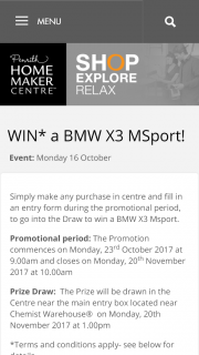 Penrith Homemaker Centre – Win a Bmw X3 Msport (prize valued at $78,390)