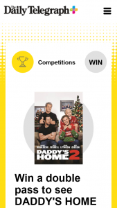 Plusrewards – Win a Double Pass to See Daddy's Home 2 (prize valued at $8,000)